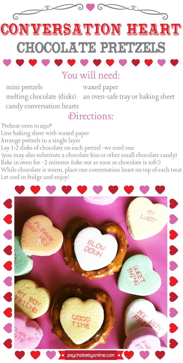 Conversation heart chocolate pretzel recipe