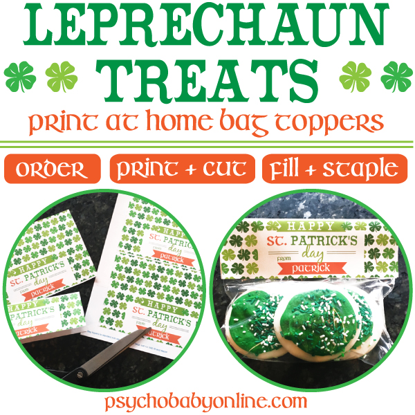 Printable St. Patrick's Day snack bag toppers for school and parties